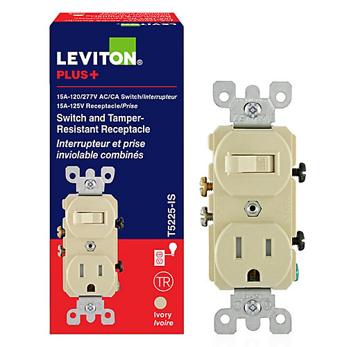 15 Amp Combination Switch-Receptacle in Ivory