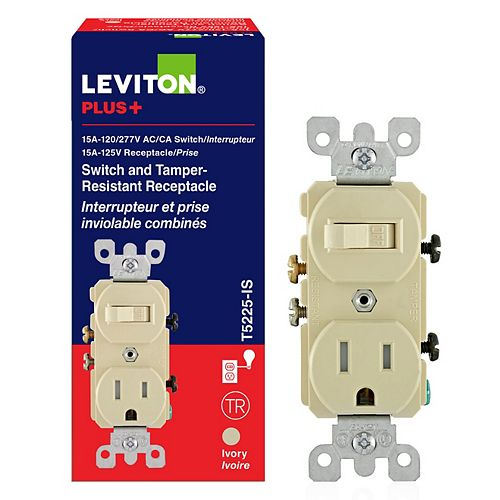 Leviton 15 Amp Combination Switch-Receptacle - Ivory