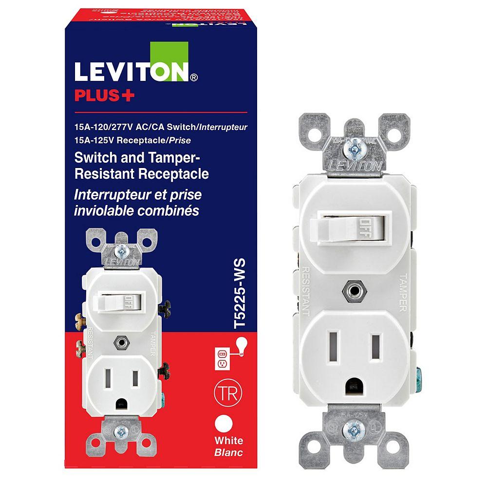 Leviton 15 Amp Combination Switch-Receptacle - White