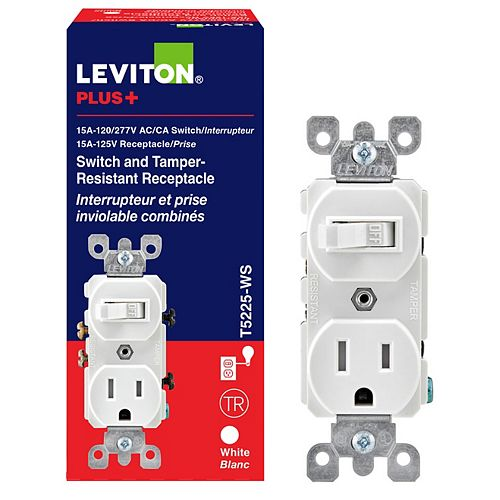 Leviton 15 Amp Combination Switch-Receptacle - White
