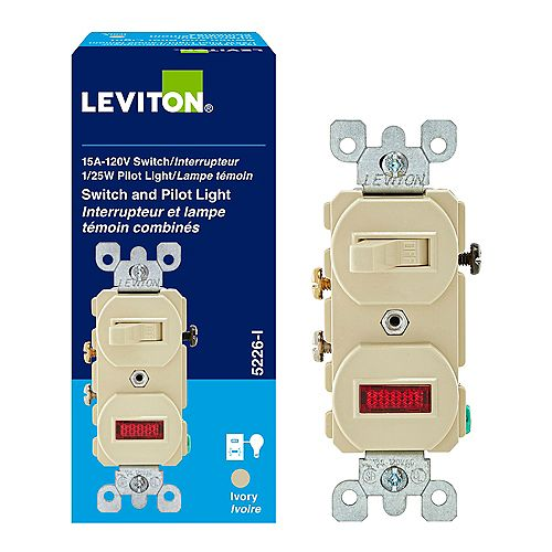 Combination Switch/Neon Pilot, Ivory