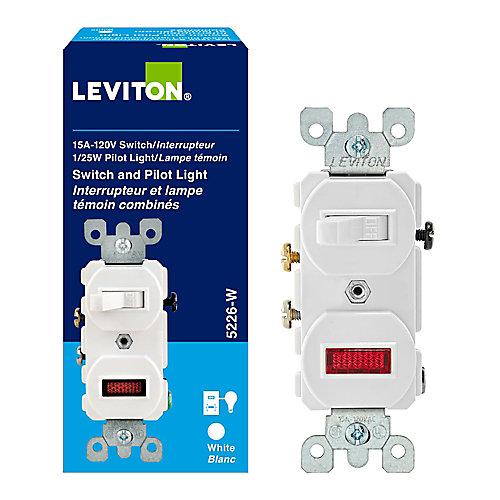 Combination Switch/Pilot Lite, White