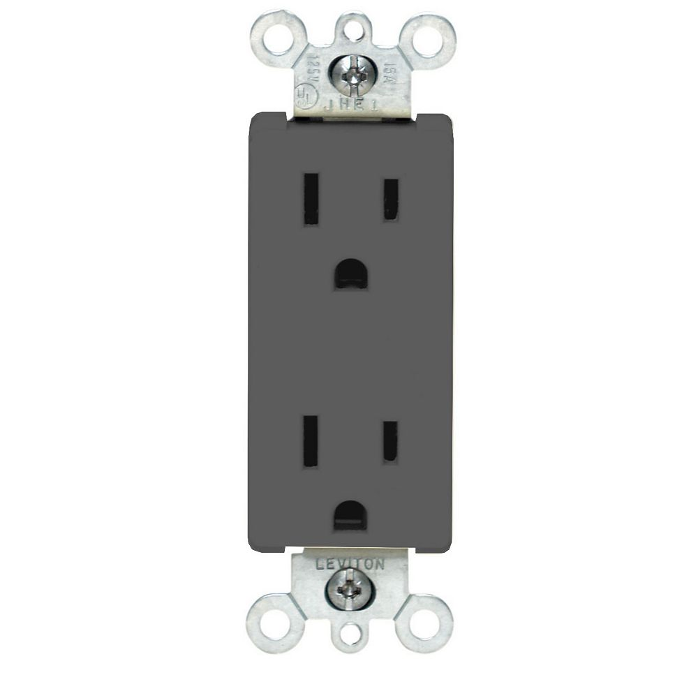 Leviton Decora Duplex Receptacle, Black