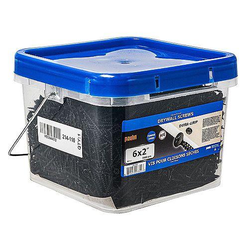 Vis à cloison sèche à tête plate Phillips Drive #6 x 2 pouces à filetage grossier - 3500pcs