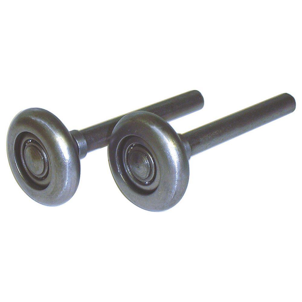 """Ideal Security Roulettes pour porte de garage - Roues de 2"""" en acier, paliers de pivotement à 10 billes et tige de 4"""" (2 unités)"""