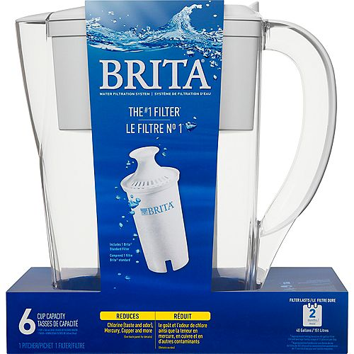 Space Saver Water Filter Pitcher with 1 Replacement Filter, White, 6 Cup