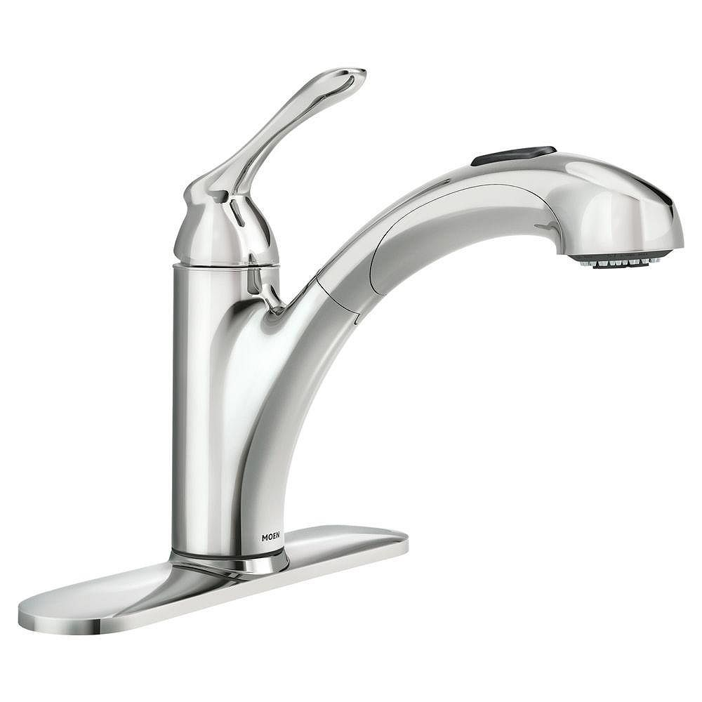 Moen Banbury Single Handle Pull Out Sprayer Kitchen Faucet With Power Clean In Chrome The Home Depot Canada