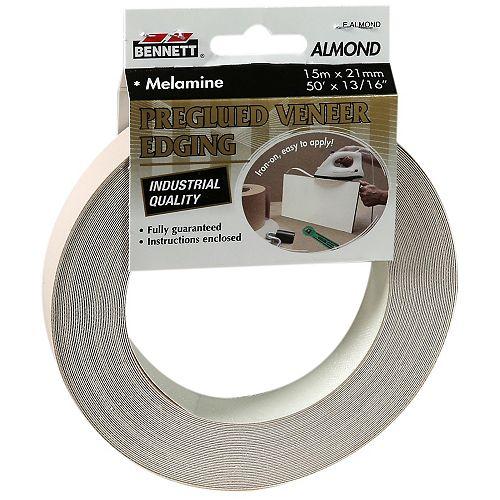 50 ft. x 13/16-inch Pre-Glued Almond Melamine Edging