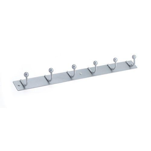 Utility Hook Rack, Brushed Aluminium