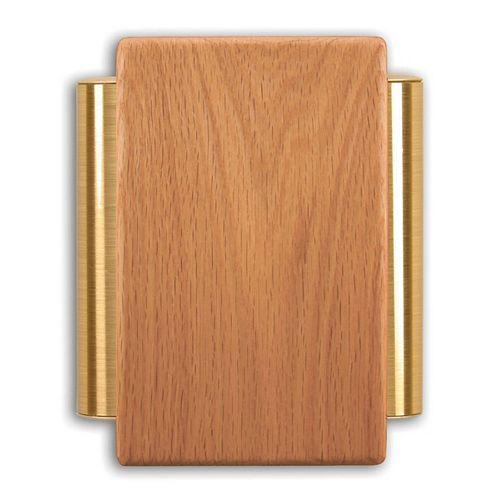 Carillon de porte câblé à boîtier de chêne massif et tubes latéraux au fini laiton satiné