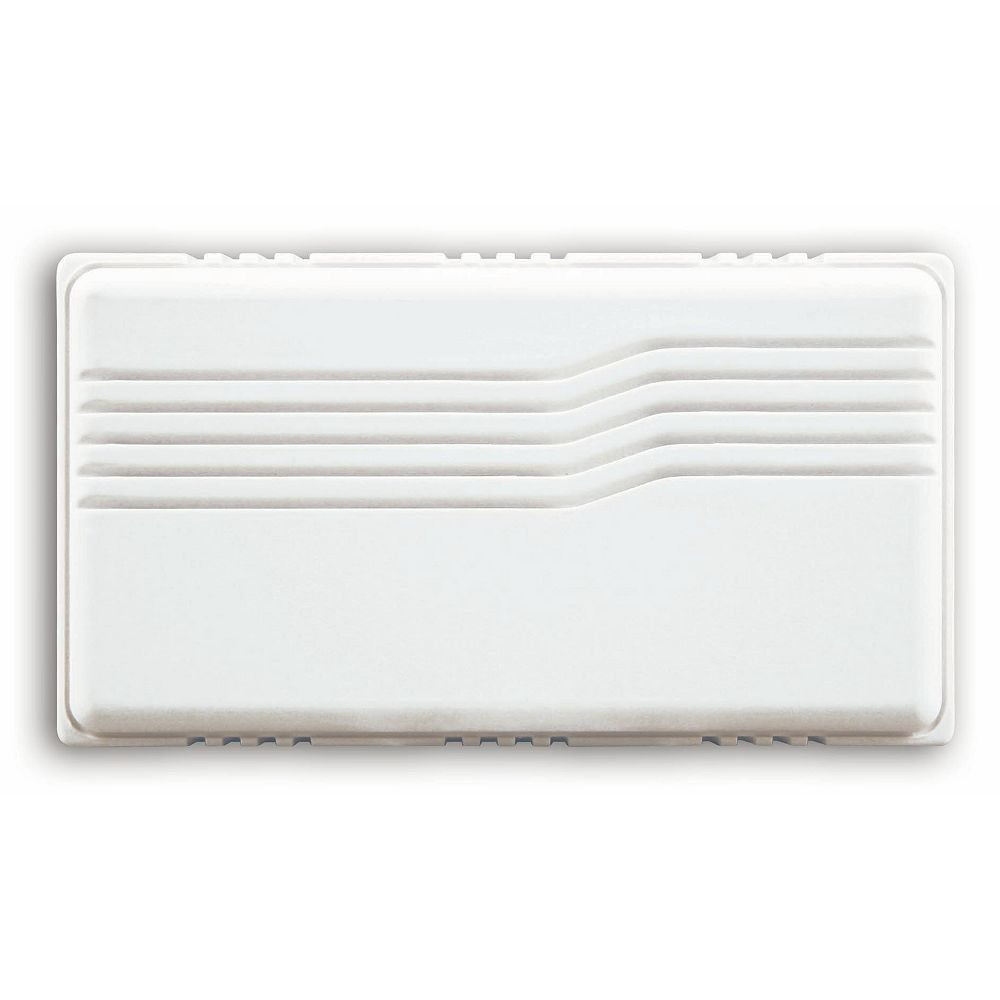 Hampton Bay Basic Wired White Covered Door Chime With Horizontal Lines