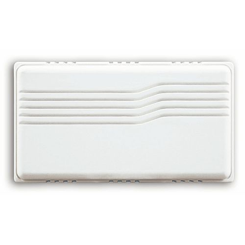 Basic Wired White Covered Door Chime With Horizontal Lines