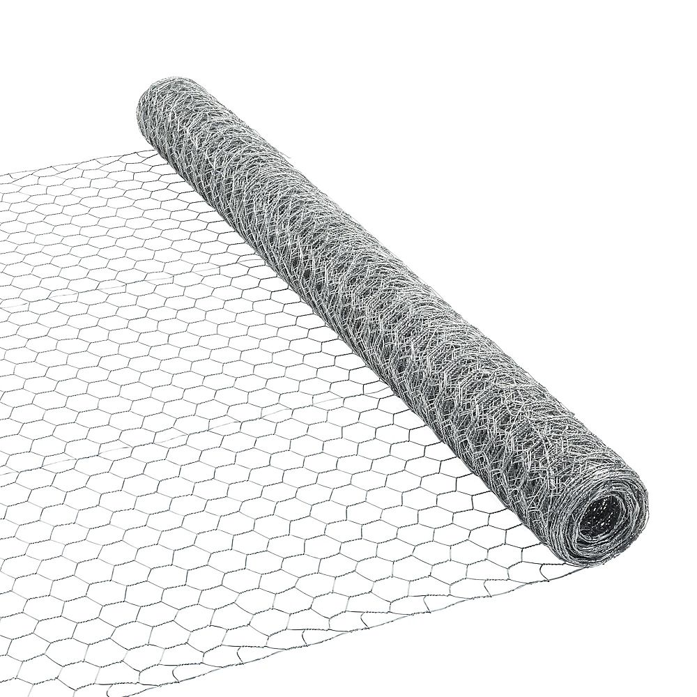 Everbilt 25 ft. L x 36-inch H Galvanized Steel Hexagonal Wire Netting with 1-inch x 1-inch Mesh Size