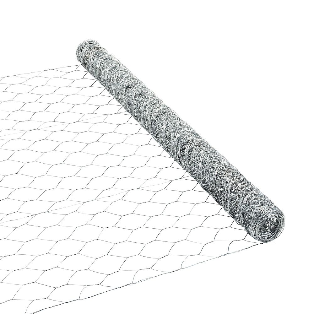 Peak Products 25 ft. L x 36-inch H Galvanized Steel Hexagonal Wire Netting with 2-inch x 2-inch Mesh Size