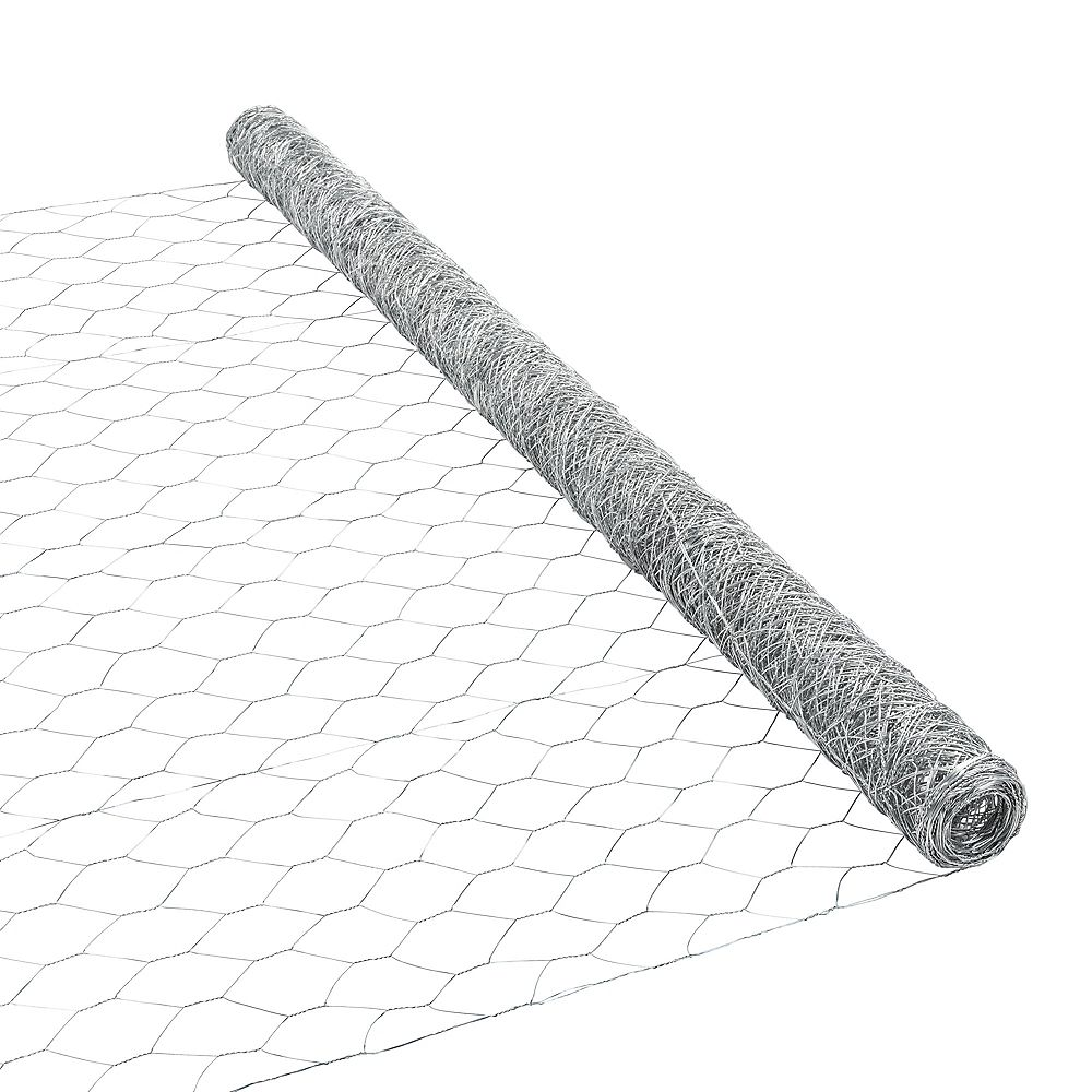 Peak Products 25 ft. L x 48-inch H Galvanized Steel Hexagonal Wire Netting with 2-inch x 2-inch Mesh Size