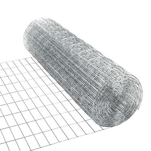 50 pieds L x 36 pouces H Filet métallique soudé de calibre 15 en acier galvanisé (mailles de 2 pouces x 4 pouces)