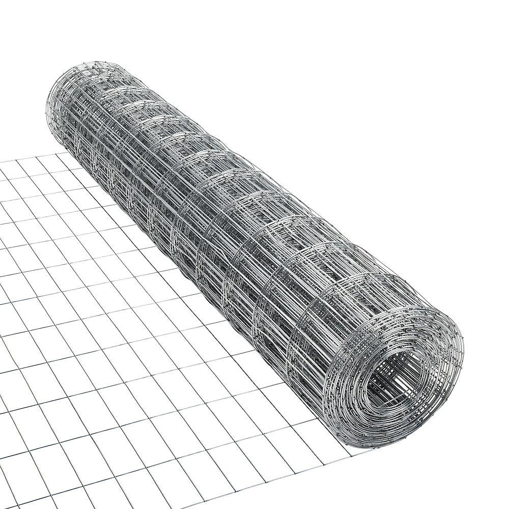 Everbilt 50 ft. L x 48-inch H 15-Gauge Welded Wire Mesh Netting in Galvanized Steel (2-inch x 4-inch Mesh)