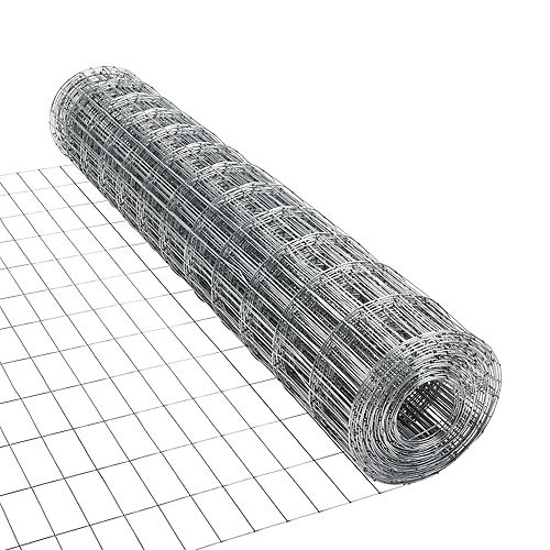 50 ft. L x 48-inch H Galvanized Steel Welded Utility Fence with 4-inch x 2-inch Mesh Size