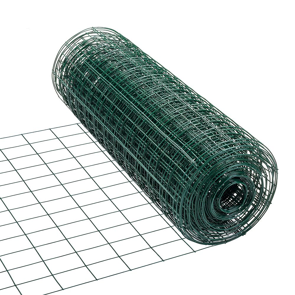 Peak Products 50 ft. L x 24-inch H PVC Coated Utility Fence in Green with 3-inch x 2-inch Mesh Size