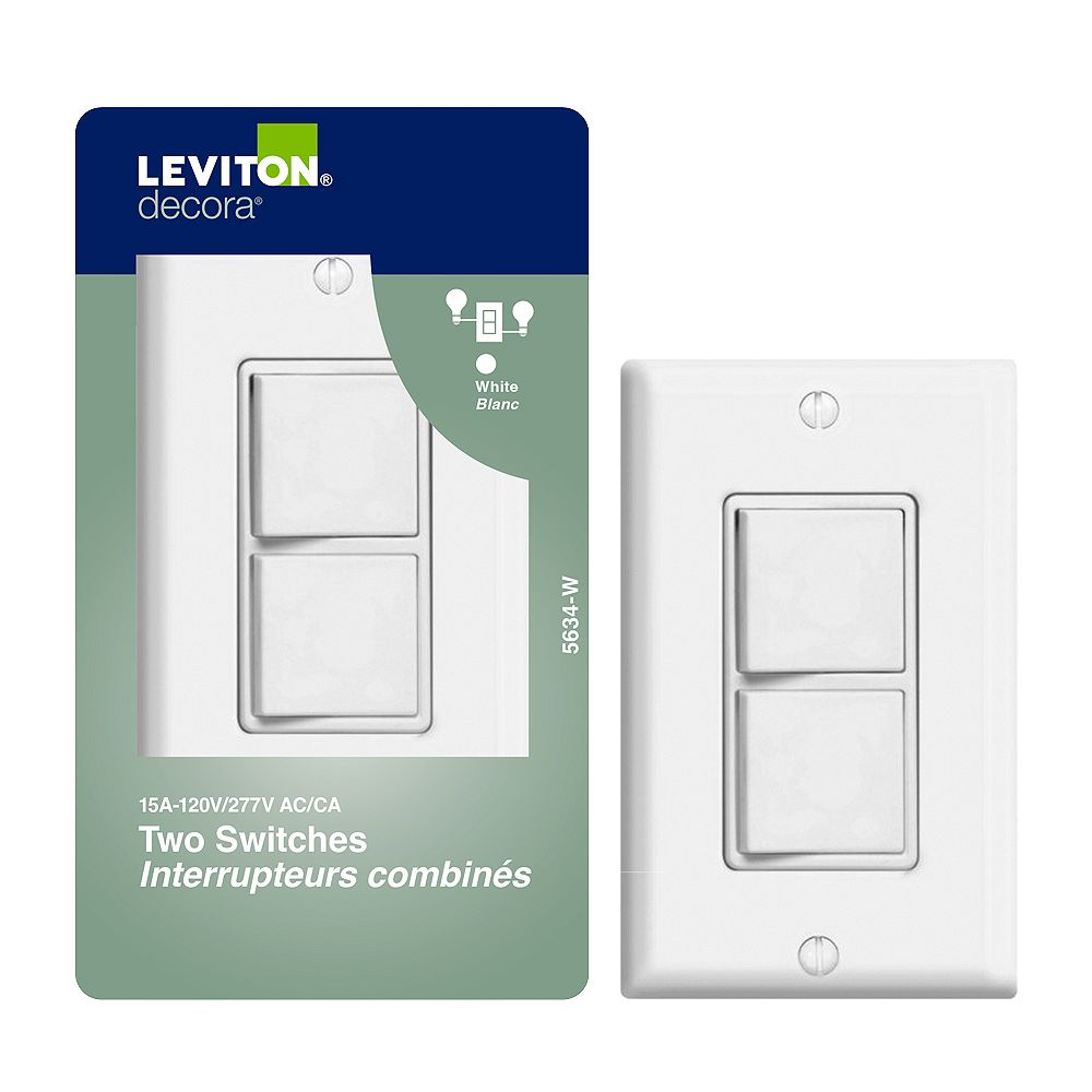 Leviton Decora Combination Switch/Switch , White