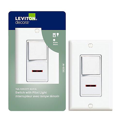Decora Combination Switch/Pilot, White