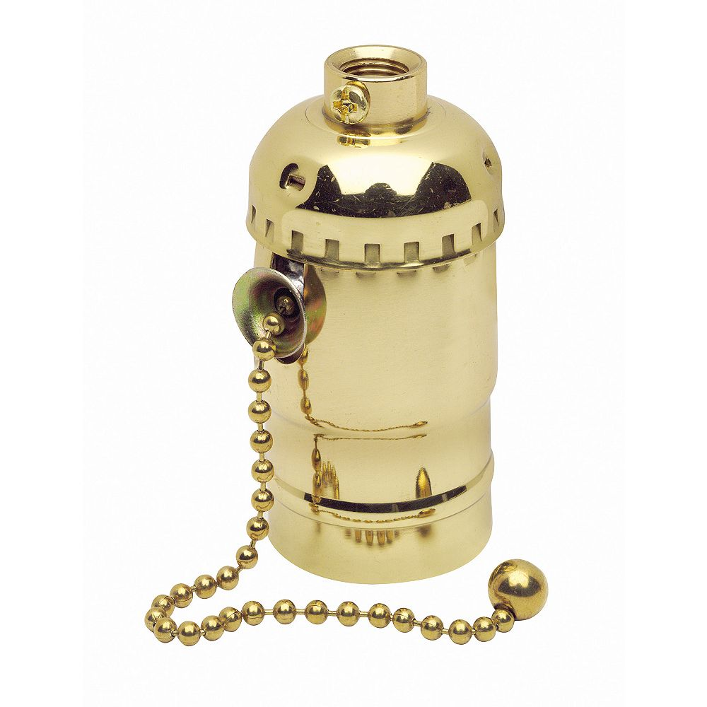 Leviton Socket Pull Chain, Brass
