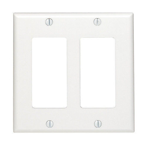 Decora wall plate 2 Gang, White