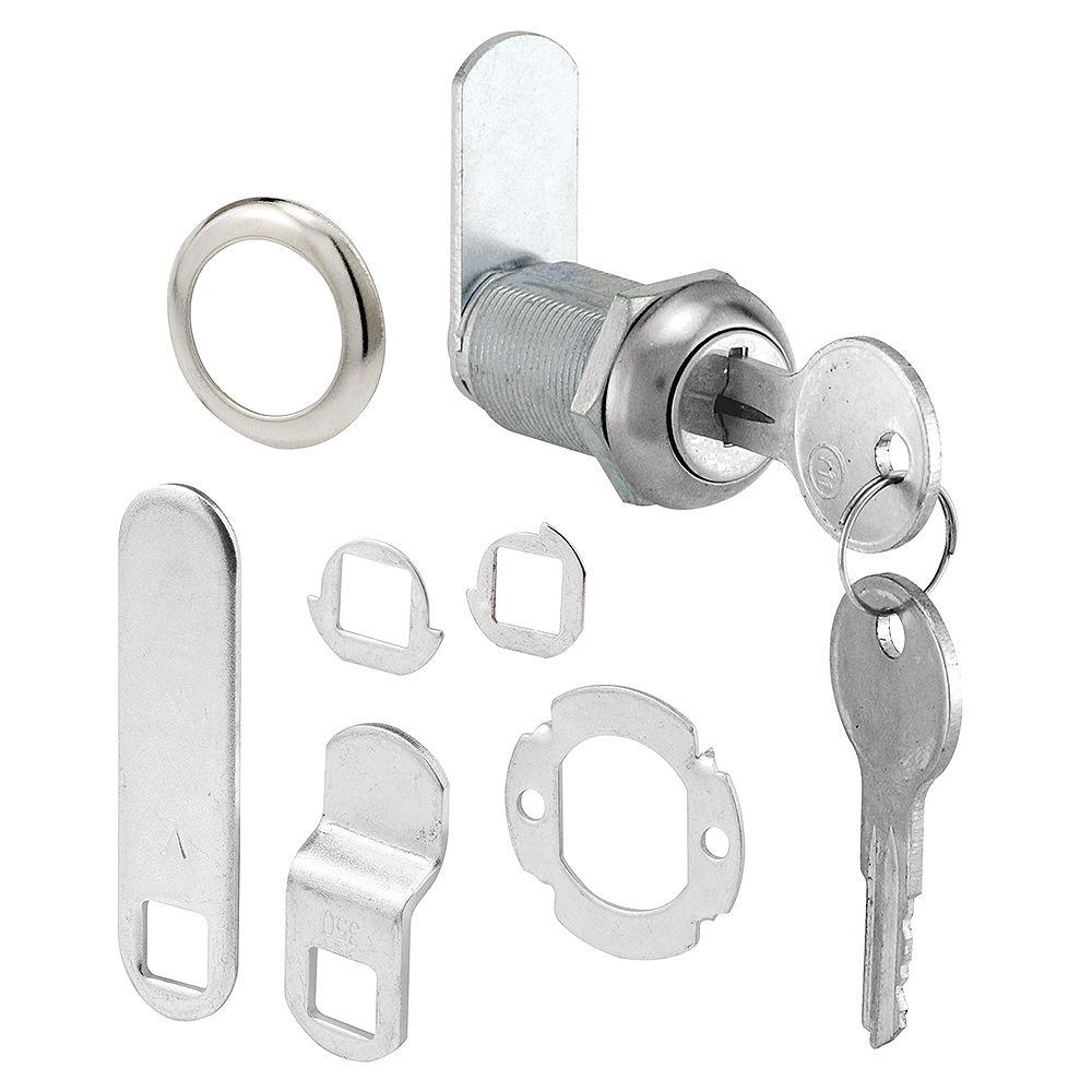 Prime-Line Serrure à tiroir et armoire, 1-1/8 po, moulé sous pression, acier inoxydable, panneaux 13/16 po max.