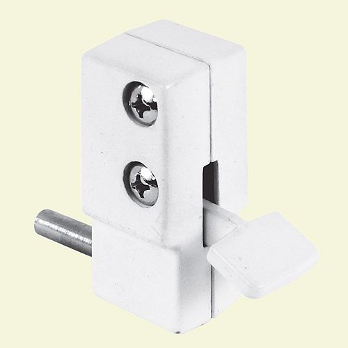 White, Step-on Sliding Patio Door Lock