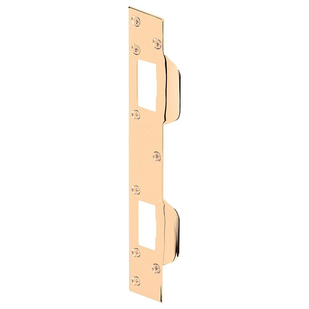 Prime-Line Gâche de porte pour trous espacés de 5-1/2 po à 6 po d'un centre à l'autre, acier, fini en laiton