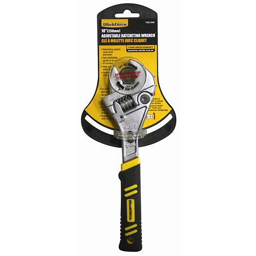 10 In. Ratcheting Adjustable Wrench