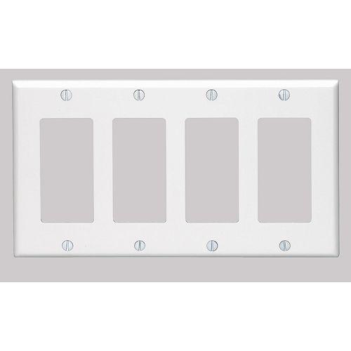 Decora wall plate 4 Gang, White