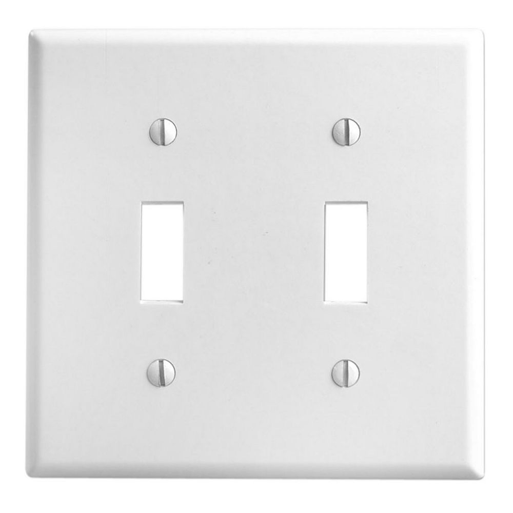 Leviton Wallplate 2 Gang Toggle White The Home Depot Canada