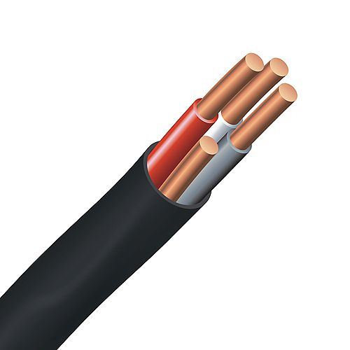 Underground Electrical Cable  Copper Electrical Wire Gauge 12/3. NMWU 12/3 BLACK - 75M