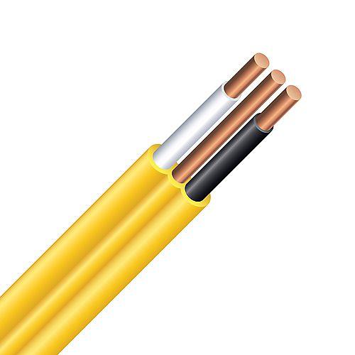 Câble électrique – fils cuivre calibre AWG 12/2 - Romex SIMpull NMD90 12/2 jaune - 75M