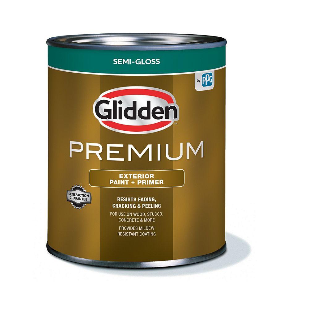 Glidden Premium Exterior Paint + Primer Semi-Gloss - White 925 mL