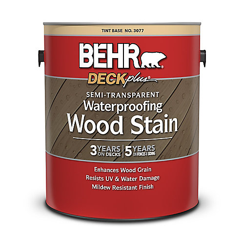 SEMI-TRANSPARENT WATERPROOFING WOOD STAIN, TINT BASE, 3.55 L