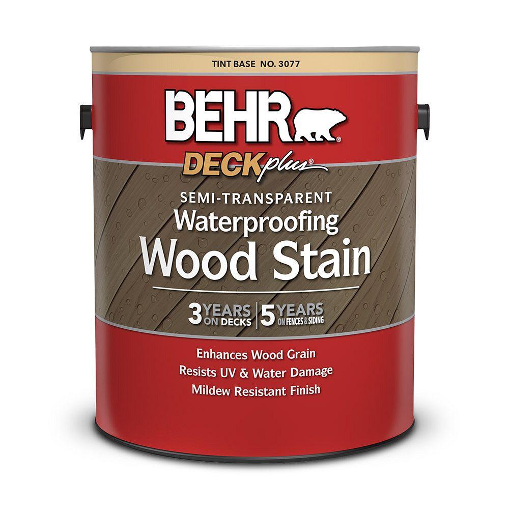 BEHR DECKPLUS Semi-Transparent Waterproofing Wood Stain - Tint Base, No. 3077, 3.79L