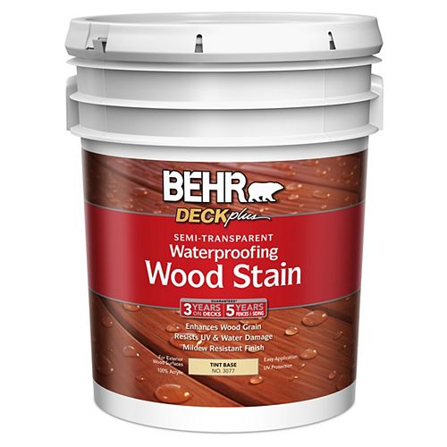 BEHR DECKplus Semi -Transparent Waterproofing Wood Stain - Tint Base No. 3077, 18.9 L