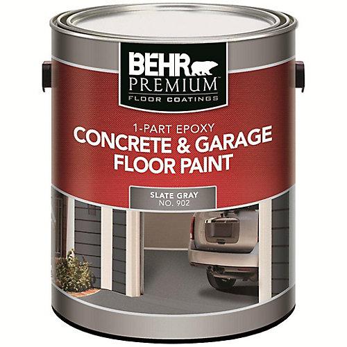 Premium 1-Part Epoxy Acrylic Concrete & Garage Floor Paint - Slate Gray, 3.79L