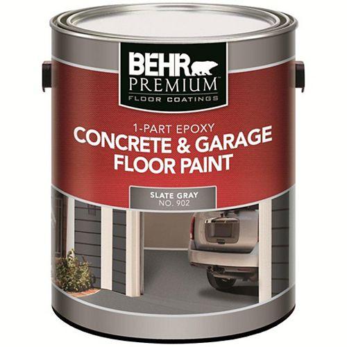 Peinture acrylique pour béton et planchers de garage, 1partie époxy, 3,79L, gris ardoise