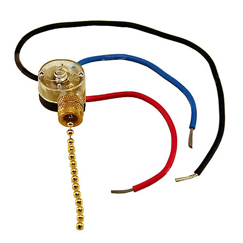 Interrupteur 3 voies (ventilation, lumière et renverse) de Ventilateur avec chaîne perlée - 3 fil