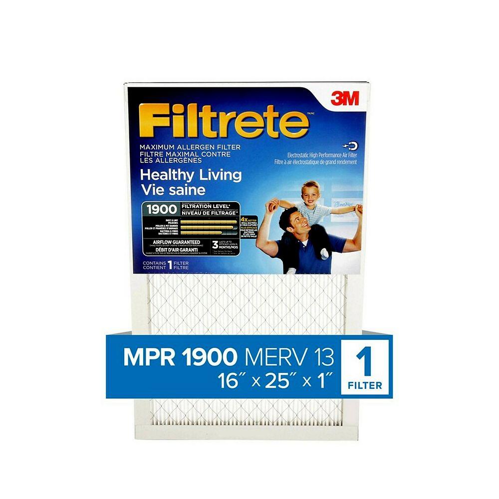 Filtrete 16-inch x 25-inch x 1-inch Healthy Living MPR 1900 Maximum Allergen Furnace Filter MA01DC-6-C-6/CS