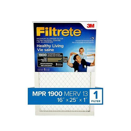 16-inch x 25-inch x 1-inch Healthy Living MPR 1900 Maximum Allergen Furnace Filter
