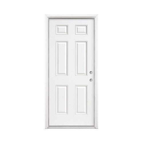 34-inch 6-Panel Steel Entry Left Hand Door