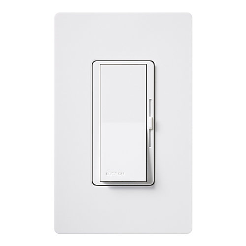 Diva 600-Watt Single-Pole Dimmer with wall plate, White