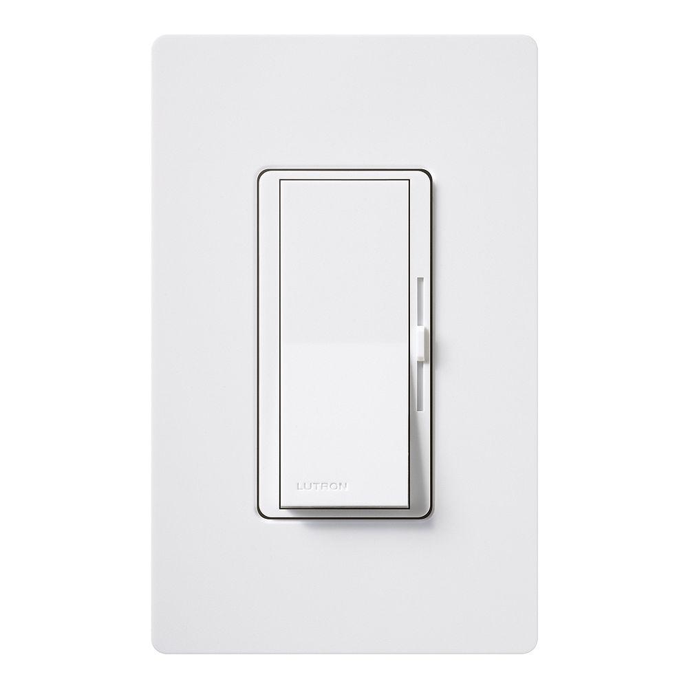 Lutron Diva 600-Watt Single-Pole Dimmer with wall plate, White