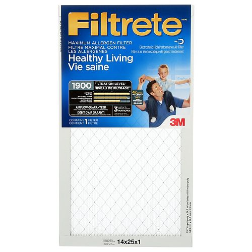 14-inch x 25-inch x 1-inch Healthy Living MPR 1900 Maximum Allergen Filtrete Furnace Filter