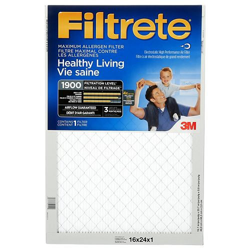 16-inch x 24-inch x 1-inch Healthy Living MPR 1900 Maximum Allergen Filtrete Furnace Filter