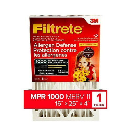 Filtrete Filters 16-pouce x 25-pouce x 4-pouce Filtre pour la réduction des allergènes MPR 1000 à plis profonds Filtrete(MC)